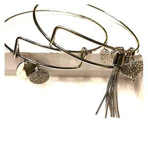 Silver charm bracelet set of two